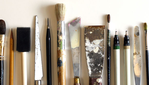 Tools from Anthony Poon's art studio
