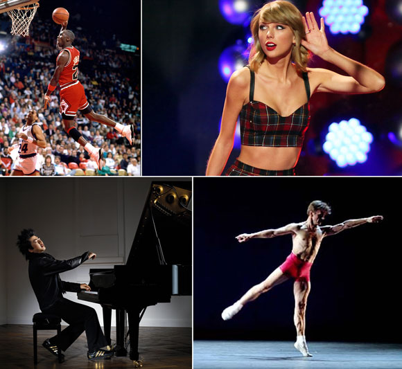 Michael Jordan (photo by Getty Images), Taylor Swift (photo by Startraks), Lang Lang (photo by Detlef Schneider), Mikhail Baryshnikov (photo by Thomas Giroir)