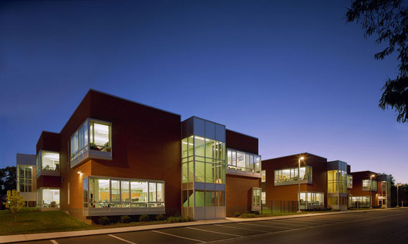 Street façade of Greenman Elementary School, Aurora, Illinois, by Anthony Poon (while w/ A4E, photo by Mark Ballogg