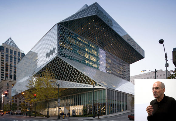 Seattle Public Library, Washington (photo by James Ewing), by Rem Koolhaas of OMA (inset photo by Superslice)