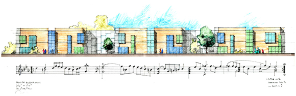 Concept sketch for Greenman Elementary School, by Anthony Poon
