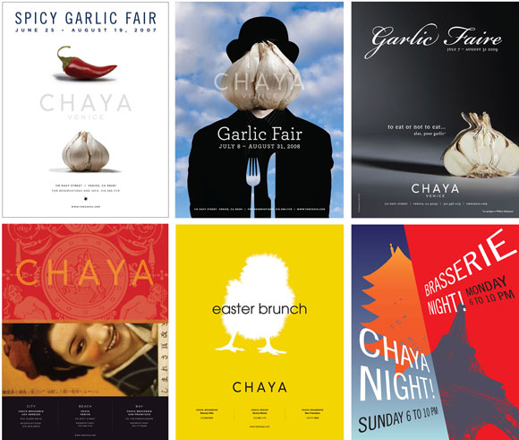 Ads for the Chaya restaurants, by Sue and Danny Yee with Poon Design