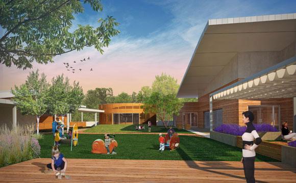 Central courtyard, Bel Air Presbyterian Preschool, Los Angeles, California, by Poon Design (rendering by Mike Amaya)