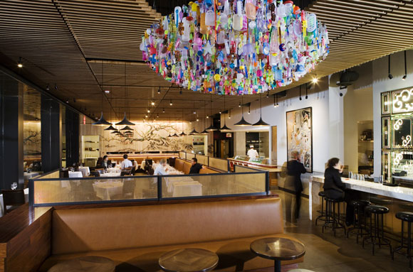 Chandelier and dining room at Chaya Downtown, Los Angeles, California, by Poon Design (photo by Gregg Segal)