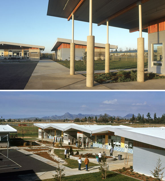 top: Special education building and classroom buildings; bottom: Multipurpose and administration buildings, Feather River Academy, Yuba City, California, by Anthony Poon (w/ A4E, photos by Gregory Blore)