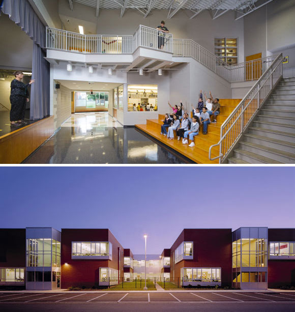 top: Lobby and amphitheater staircase; bottom: Street façade, Greenman Elementary School, Aurora, Illinois, by Anthony Poon (w/ A4E and Cordogan, Clark & Associates, photos by Mark Ballogg)