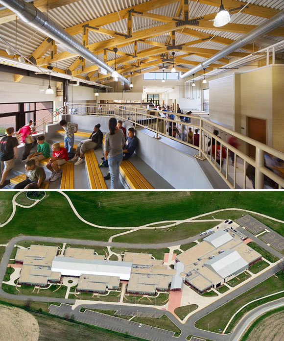 "top: Technology center and ""Grand Hall""; bottom: Overall view, Herget Middle School, Aurora, Illinois, by Anthony Poon (w/ A4E and Cordogan, Clark & Associates, photos by Mark Ballogg)"
