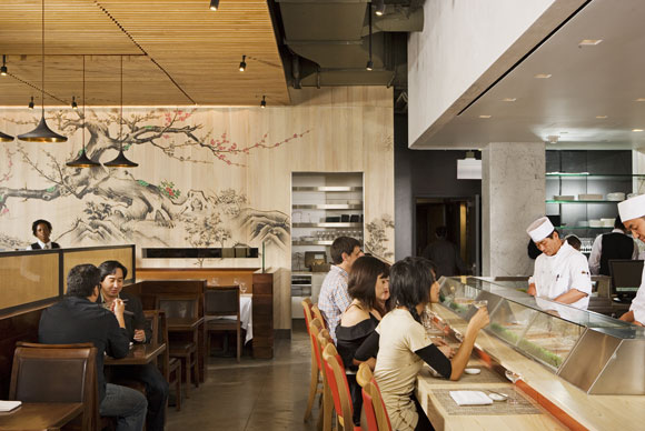 Mural and sushi counter at Chaya Downtown, Los Angeles, California, by Poon Design (photo by Gregg Segal)