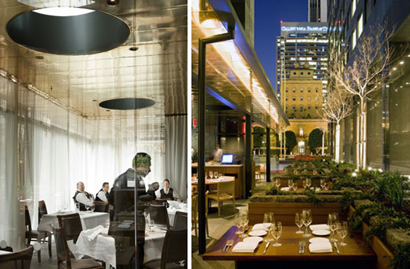 Private dining room and garden patio at Chaya Downtown, Los Angeles, California, by Poon Design (photo by Gregg Segal)