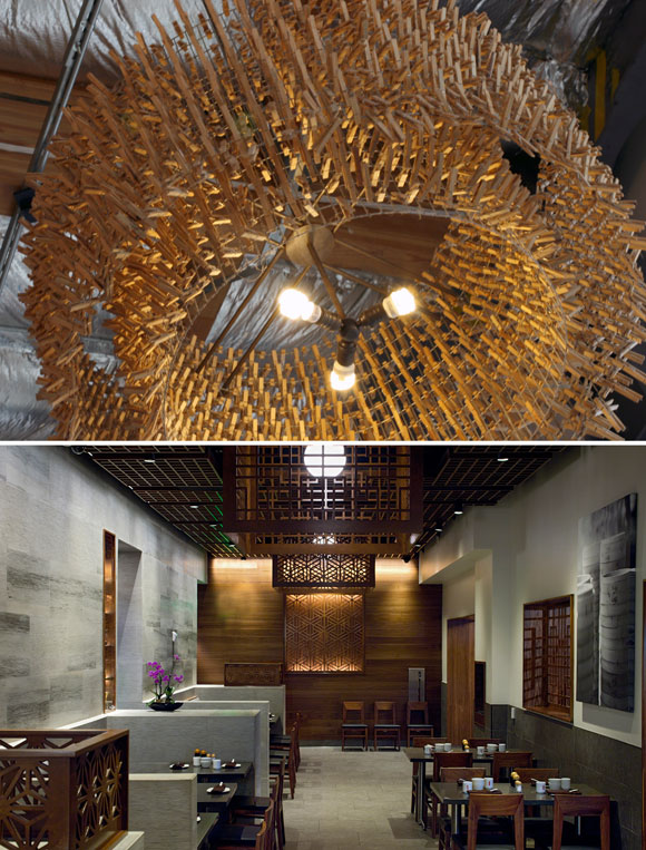 Top: Each chandelier is made of wire fencing and 1,500 wood clothespins at Mendocino Farms, Los Angeles, California; bottom: Laser cut Walnut plywood lamp shades, Din Tai Fung, South Coast Plaza, Costa Mesa, California (photo by Gregg Segal) both projects by Poon Design