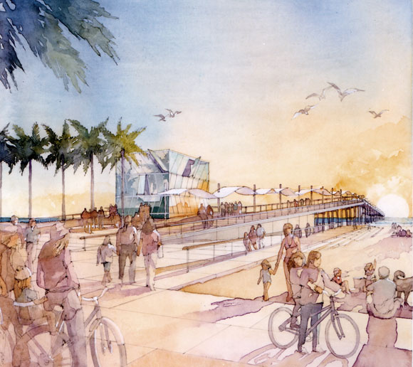 Public space, new palm trees, pier canopy, and optional glass skin for renovated lifeguard tower to reflect the water, sky and sun (watercolor by Al Forster)