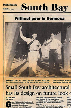 Greg Lombardi and me, first of hundreds of local and national articles, Daily Breeze, 1993