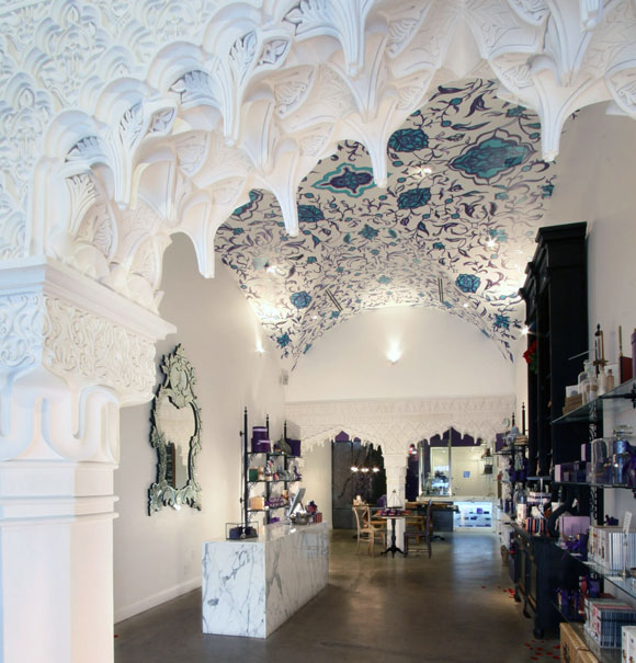 """Vosges Haut-Chocolat flagship retail, café and """"Chocolate Theater,"""" Beverly Hills, California, by Poon Design, demolished 2016"""