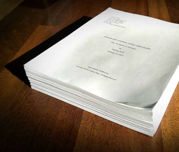 First draft of manuscript (photo by Anthony Poon)