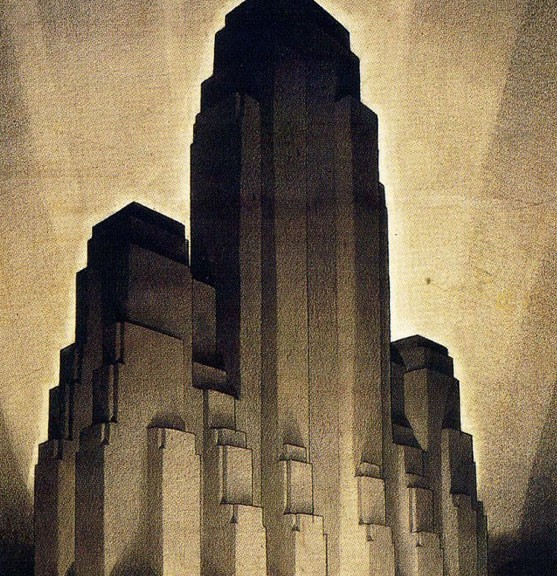 The Metropolis of Tomorrow. This drawing is not by This Guy but is similar. This drawing is by the noteworthy architect, Hugh Ferris (1889-1962)