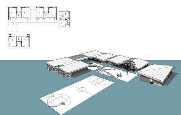 Design drawing for village of classroom (drawing by Glen Hensley, A4E)