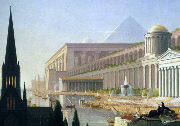 An architect fantasizing about his designs in The Architect's Dream, Thomas Cole, 1840