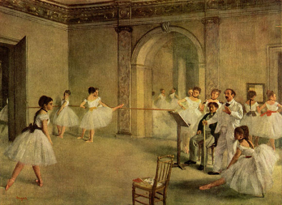 Ballet Rehearsal on the Set, by Edgar Degas, 1874