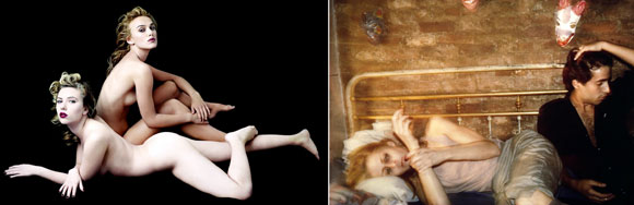 left: Scarlett Johansson and Keira Knightly, by Annie Leibovitz (2006); Greer and Robert on the Bed, by Nan Goldin (1982)
