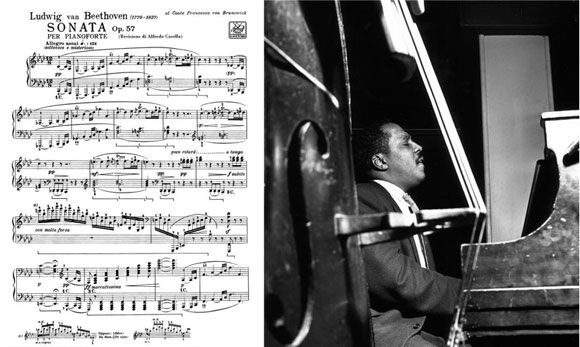 "left: Piano Sonata No. 23 in F minor, Opus 57, the ""Appassionata,"" by Ludwig van Beethoven (1805); Bud Powell (photo from thejazzlabels.com)"