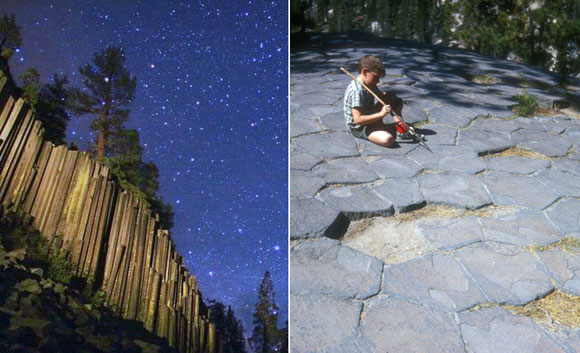 left: Devils Postpile National Monument, Mammoth Lakes, California (photo by Wally Pacholka); right: Hexagonal tops of the postpile columns (photo by Jerrye and Roy Klotz)