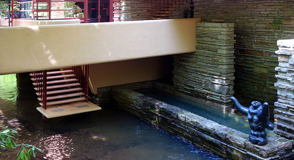 Fallingwater living room stair down to creek (photo by Daderot)