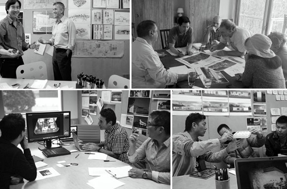 Client meetings, upper left: Alta Verde Group (photo by Poon Design); upper right: Buddhist Retreat Center (photo by Bryan Bethem); lower left: PayPal / eBay (photo by Faran Najafi); Ginza Onodera (photo by Anthony Poon)