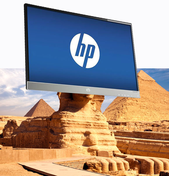 Photo montage by Anthony Poon, HP monitor (photo from ebay.com) and Sphinx at the Giza pyramid complex, Egypt (photo from ancientexplorers.com)
