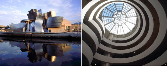 The Guggenheim in Bilbao, Spain, by Frank Gehry (photo by Miro Hotel), The Guggenheim in New York, New York, by Frank Lloyd Wright (photo by jdglek)