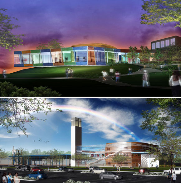 top: Holocaust and Human Rights Center, University of Maine at Augusta; bottom: River of Life Christian Church, Santa Clara, California, by Poon Design (renderings by Amaya)
