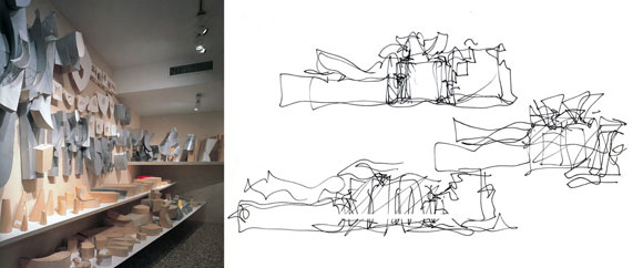 left: Study models for the Guggenheim Museum, Bilbao, Spain (photo by Hisao Suzuki); right: Sketches by Gehry for the Guggenheim Museum