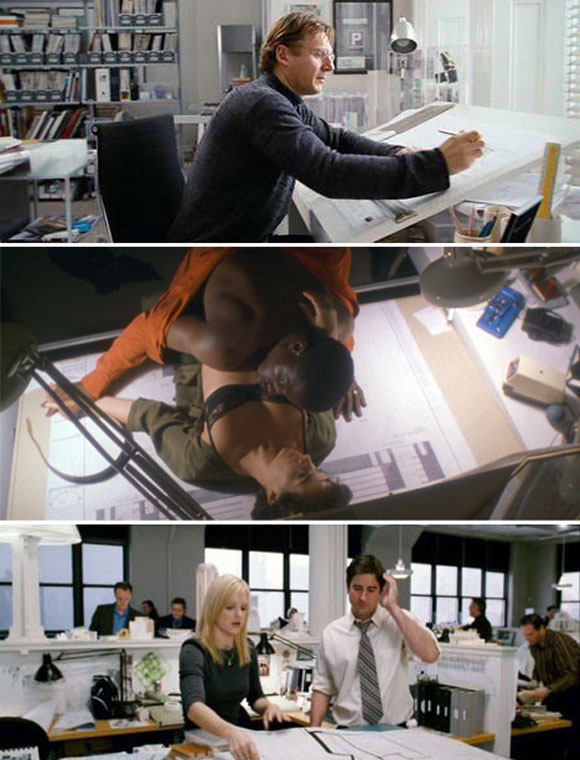 top: Liam Neeson in Love Actually, 2003; middle: Wesley Snipes and Annabella Sciorra in Jungle Fever, 1991; bottom: Luke Wilson and Anna Faris in My Super Ex-Girlfriend, 2006