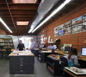 Design studio at Poon Design, Los Angeles, California
