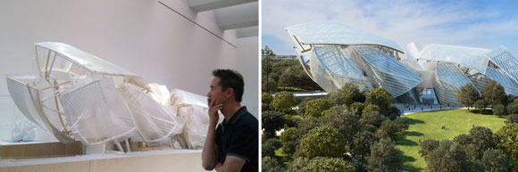 left: Model of Gehry's design for the Louis Vuitton Foundation, LACMA, Los Angeles, California (photo by Ella Poon); right: Louis Vuitton Foundation by Gehry, Paris, France (photo by Fondation Louis Vuitton)