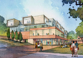 Student Center, University of California, Riverside, by Anthony Poon while w/ HHPA (rendering by Gilbert Gorski)