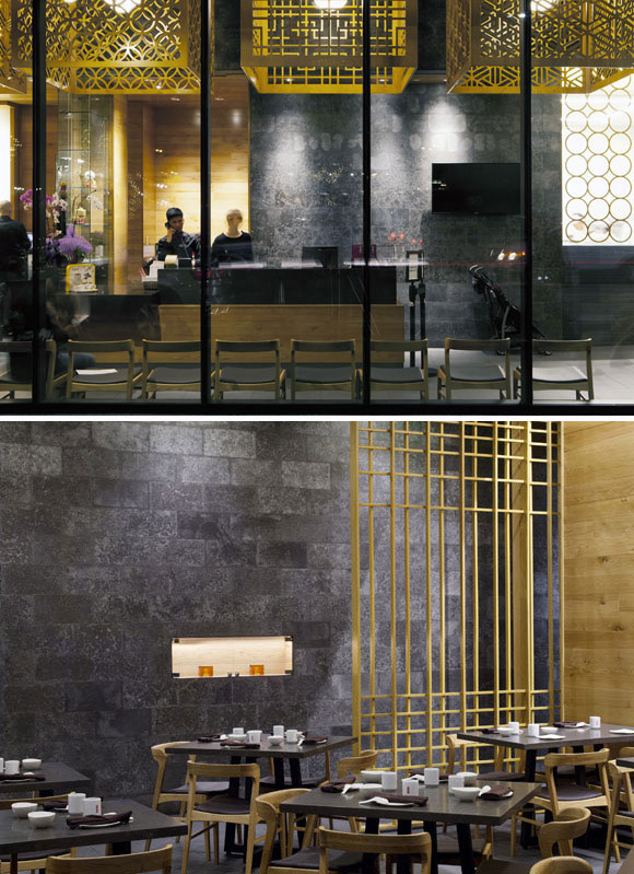 top: Reception and plywood lamp shades, Glendale, California (photo by Gregg Segal); bottom: Dining room with movable screens, Glendale, California (photo by Gregg Segal)