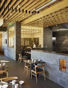 Exhibition dumpling kitchen and circular motif, Glendale, California (photo by Gregg Segal)