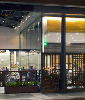 Patio and exterior of central dining room, Costa Mesa, California (photo by Gregg Segal)