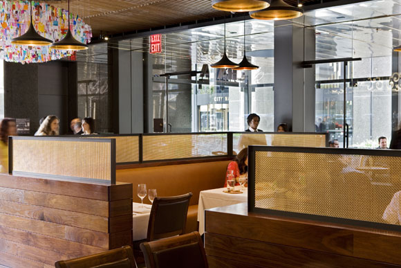 Dividers at Chaya Downtown, Los Angeles, CA, by Poon Design, winner of 2009 International Design Award for Best Restaurant from The American Institute of Architects (photo by Gregg Segal)