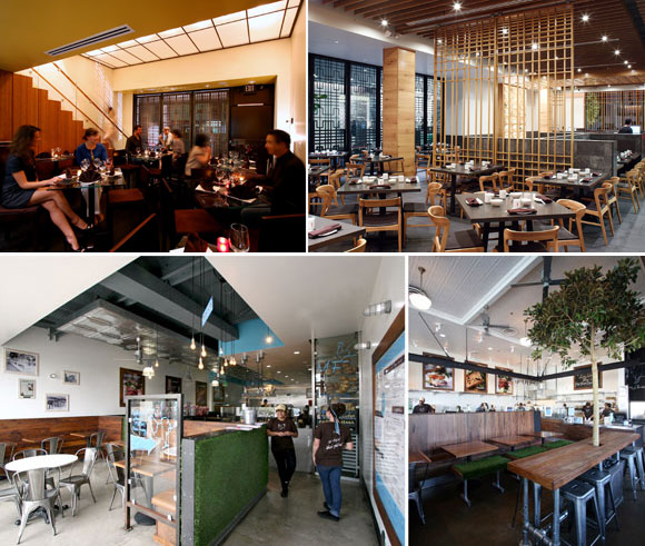 top left: Water jet cut, weathered steel screens in an interpretive Chinese pattern at Joss Cuisine, Beverly Hills, California; top right: Moveable white oak screens at Din Tai Fung, The Americana at Brand, Glendale (photo by Gregg Segal); bottom left: Mendocino Farms, Marina del Rey (winner of 2011 International Design Award for Best Restaurant from The American Institute of Architects) and West Hollywood, California, all by Poon Design