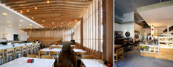 left: Hickory slat ceiling at Sushi Noguchi, Yorba Linda, California; right: A lowered ceiling at Deluca's Italian Deli, The Americana at Brand, Glendale, both by Poon Design
