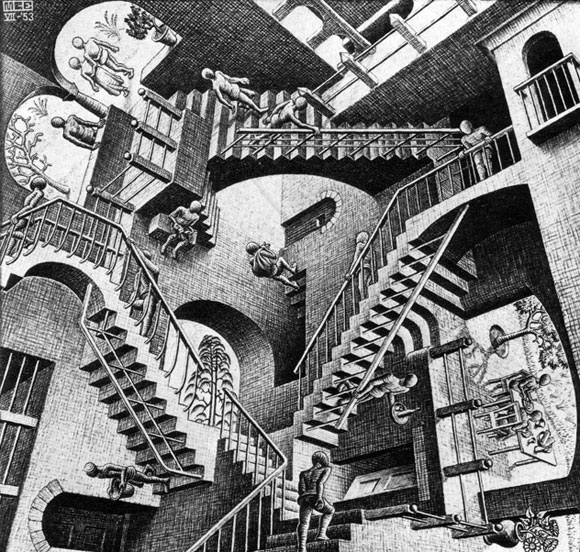 """Relativity"" by M.C. Escher, 1953"