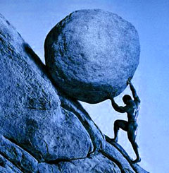 Sisyphus (photo from theonwardupwardjourney.com)