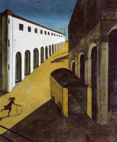 Mystery and Melancholy of a Street, by Giorgio de Chirico, 1914