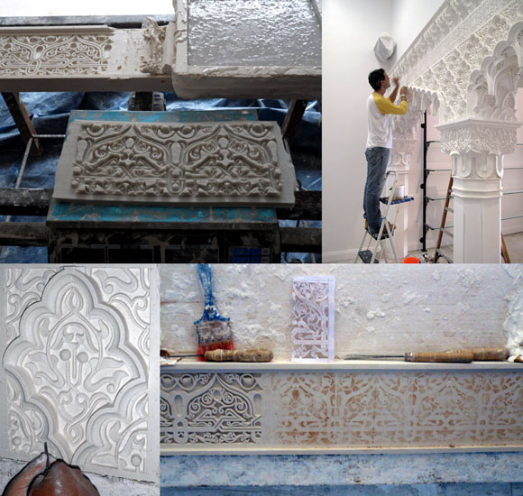 Painstaking hand carved plaster work by artisans in Marrekesh, Morocco, for Vosges Haut-Chocolat, Beverly Hills, California, by Poon Design, demolished 2016
