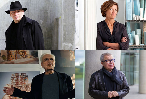 Starchitects, generally in black, all with stylish flair: upper left: Jean Nouvel (photo by Tom Dyckhoff); upper right: Jeanne Gang (photo from architecturaldigest.com); lower left: Frank Gehry (photo by Torsten Blackwood/AFP/Getty Images); lower right: Daniel Libeskind (photo by Matt Thomas)