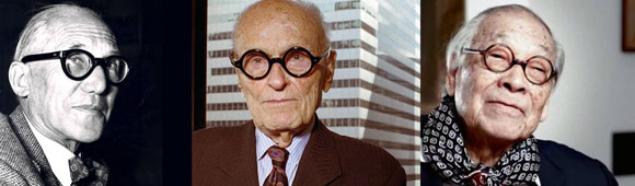 left to right : Le Corbusier (photo by Girard-Perregaud Vintage) ; Philip Johnson (photo by Getty Images) ; I.M. Pei (photo from architizer.com)