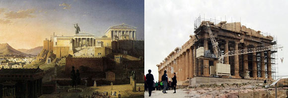 left: The Acropolis at Athens, by Leo von Klenze, 1846; right: Today's Parthenon, Athens, Greece (photo from wanderforlife.com)