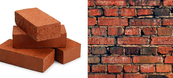 left: New bricks (photo milbricks.com); right: Worn bricks (photo from bgfons.com)