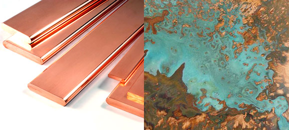 left: New copper (photo from ecrc1.org); right: Patina'd copper (photo by Ian Crossland)